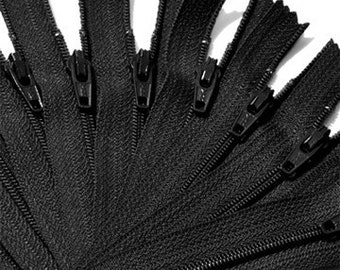 """9"""" WHOLESALE 50 ykk Zippers- 9 inch Black 50 zippers YKK for Craft Projects- - closed End  Black Zippers"""