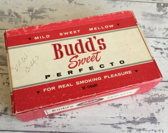 Budd's Perfecto Cigar Box - Cardboard - Mild Sweet Red and White Box