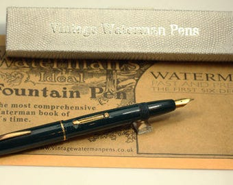 Waterman Fountain Pen Black Pen 14k Gold E/F Nib Open 146mm Closed 118mm NPT Trim L/F Canada 1930's Z9 Gift for Dad Present For Man for Him