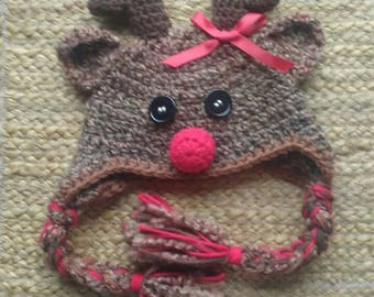 Rudolph the red nose reindeer hat for kids - made to order in size  newborn to adult