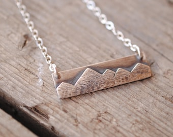 Mountain Range Bar Necklace | Sterling Silver