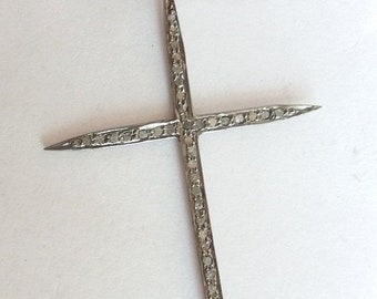 50% OFF 1 Pc Pave Diamond Cross Charm Pendant 925 Sterling Silver - Pave Diamond Oxidized Spike Cross Charm Size 60X35mm - Spike Cross Penda