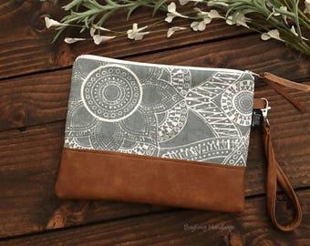 Grab N Go Wristlet Clutch - Kaleidoscope Floral  In Grey with Vegan Leather