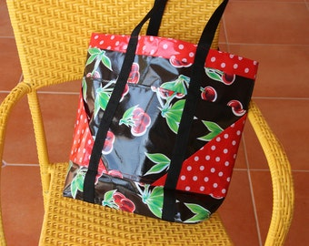 Large Lined Oilcloth TOTE Bag in Green and Red