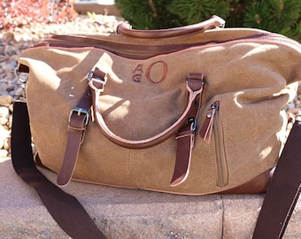 Tan Duffle Bag-Groomsmen Gifts Personalized-Embroidered Initials- Available in Olive, Gray, Tan and Blue