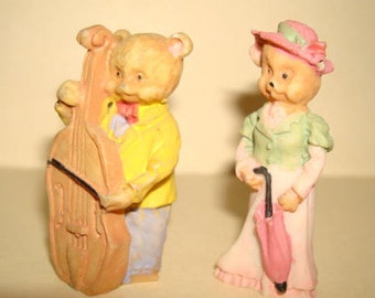 Group of 3 Miniature Bear Figurines Doll House Shadow Box Vintage