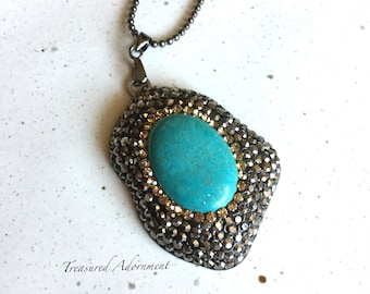 Turquoise necklace, Metallic, Hawlite Turquoise, Gun Metal Necklace, Galaxy Necklace, Thank you gift for her, Valentine's Day Gift for her