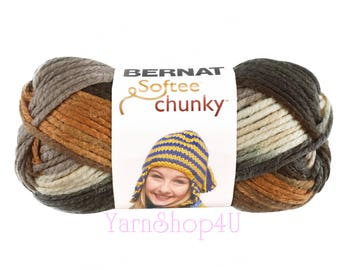 STILLNESS. Bernat Softee Chunky Super Bulky Yarn. Earthy shades for hats, cowls, scarves and more. Brown, tan, copper. 2.8 oz 77 yards