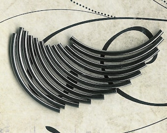 12pc-38mm x 2mm Curved Gunmetal Plated Tubes
