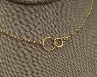 Tiny gold entwined rings and gold filled necklace, linked circles, gold circles, simple gold necklace, interlocking circles, three circles