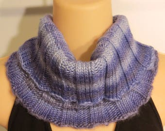 Hand Knit Scarf Wool Bamboo Turtleneck Cowl lavender purple