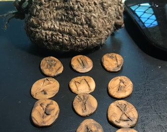 Runes, Set of 13, Hand Crafted Clay, Viking Style in Hand Spun Natural Wool Bag