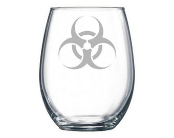Bio Hazard Symbol etched wine glass, Hazmat, hazardous materials, lab technician, Hazard Symbol, Hazmat logo, Hazardous waste, science gifts