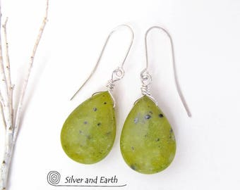 Green Jade Earrings, Sterling Silver, Stone Dangle Drop, Simple Earthy Jewelry, Natural Stone Jewelry, Green Stone Earrings, Spring Jewelry