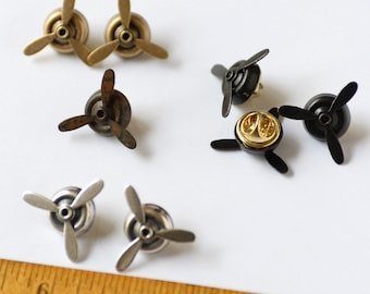 Veteran's Day Gift, 1 Airplane Propeller Tie Tack, Pilot Tie Tack Spinning Propellers, Pilot Gift, Steampunk Propeller Tie Tack Veteran Gift