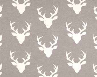 Deer heads on grey baby fitted sheet for crib