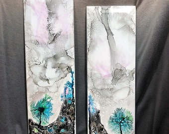 Alcohol Ink on Tile with Dendrite Accents