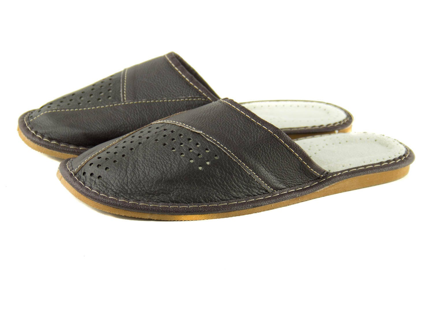 NEW MEN'S NATURAL LEATHER SLIPPERS BROWN