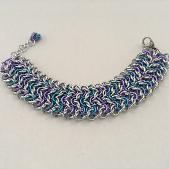 Elfsheet wide cuff chainmaille bracelet: blue, lavender, lilac and silver