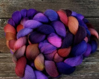 Merino Combed Top, Spinning Fiber, Hand Dyed, Spinning Box July 2017