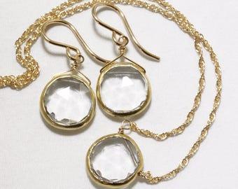 Genuine Quartz 2-piece SET Adjustable Clear Quartz Necklace Quartz Earrings Quartz Jewelry April Birthstone Quartz BZ-SET-105.2-Qtz/g