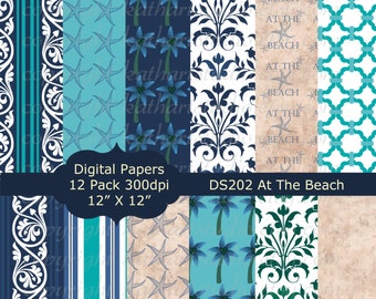 Instant Download - Beach Starfish Digital Paper pack Scrapbooking Backgrounds Beach Starfish Palm Tree Floral DS202
