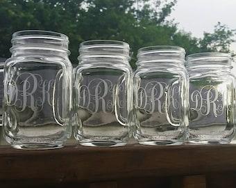 Mason Jar Mugs | Monogram Mason Jar | Custom Etched Mason Jar Mugs | Etched Glass | Custom Glass Etching | Wedding Bridesmaid Groomsman Gift