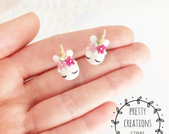 Unicorn earrings, Unicorn Jewelry, Pink Unicorn, Rainbow unicorn, Pastel unicorn flowers, Kawaii Handmade unicorn, Polymer Clay Earrings
