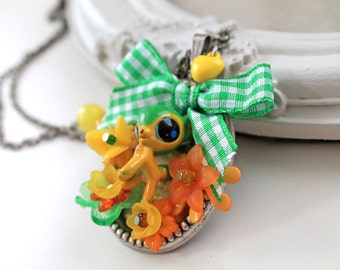 Bambi fawn deer Necklace KAWAII green bow yellow Gothic Lolita