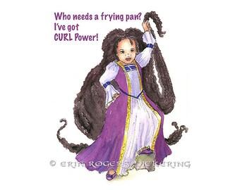 Multicultural Rapunzel Curl Power 8x10 Art Print Modern Fairy tales