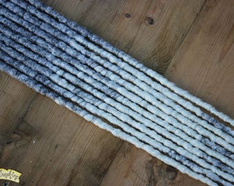 Grey and White Transitional SE x10 Crochet Synthetic Dreads - accent