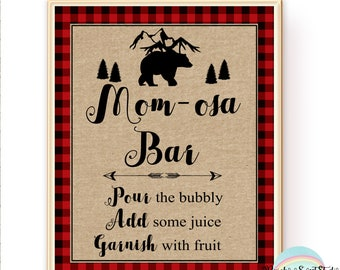 Lumberjack Mom-osa Bar Sign, Lumberjack Baby Shower, Buffalo Plaid Table Sign, Lumberjack Baby Shower Sign 8X10,  INSTANT  DOWNLOAD