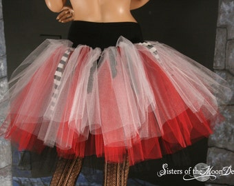 Petticoat tutu skirt Pirate Three Layer red white black trash Adult halloween costume race run dance - You Choose Size - Sisters of the Moon