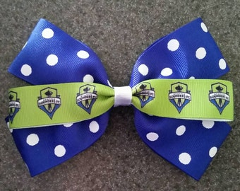 Seattle Sounders Boutique Style Polka-dot Hair Bow or Headband - 2 sizes
