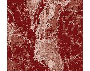 La Crosse WI Cityscape / Wisconsin Map Art Print UWL Dorm Decor / 8x10 Grad Gift / Choose your color