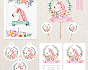 Personalised Unicorn Party Pack - includes invitations, cake topper, poster, thank you tags etc.