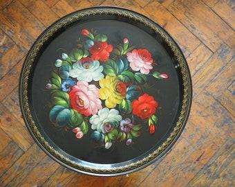 Handpainted Folk Art Tray -1960's Russian Toleware Tray