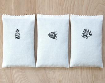 Noir et blanc des Sachets de lavande, Sachets parfumés tiroir pour minimaliste décor Tropical