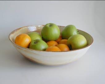 Porcelain Serving Bowl Large Rust and White Pottery Bowl Handmade Porcelain Bowl Fruit Bowl