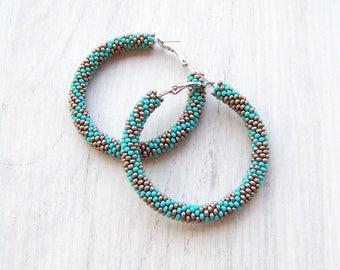 Beaded grey turquoise hoop earrings - Beadwork - beaded earrings - seed beads earrings - Geometric pattern earrings