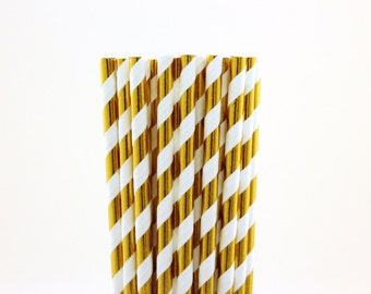 Gold Foil Striped Paper Straws, Glam Sweet 16, Gold cake pop stick, ballerina birthday party, Quinceanera, glitter party decor, gold party