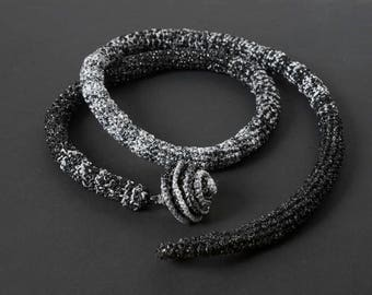 Black and Silver Crochet Necklace Scarf, Crocheted rope Necklace