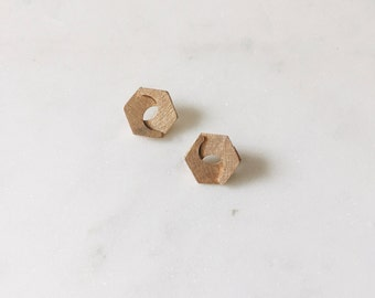 1980's Vintage Gold Hexagon Minimal Texture Stud Earrings