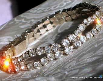 Estate Rhinestones Vintage Bracelet Wedding Art Deco Bling Crystals Prong Set 2 Rows Early Mid Century Exquisite Hollywood Pin Up Cheesecake