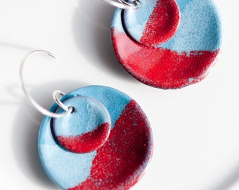 Artsy Copper Enamel Earrings | Torch Fired Glass on Copper | Handmade Sterling Silver Ear Wires | Patriotic Jewelry | July 4th Gift