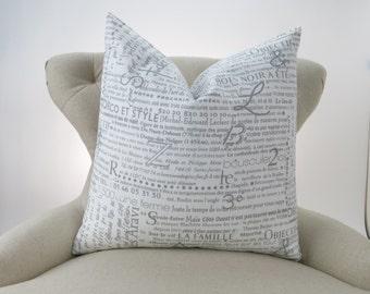 Throw Pillow, Decorative Cushion, Euro Sham, Accent Pillow, Newsprint Pillow, Grey Decor -MANY SIZES- Newsletter Storm, Premier Prints