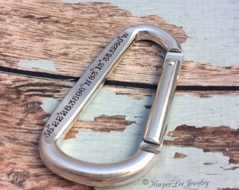 Father's Day Gift - Dad - Daddy - Custom Hand Stamped Carabiner - for Him - Personalized GPS - Latitude/ Longitude - Coordinates - Key Chain