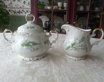 So Lovely Edelstein Lily of the Valley Edelstein Creamer and Sugar Set, made in Germany, Gold Trim