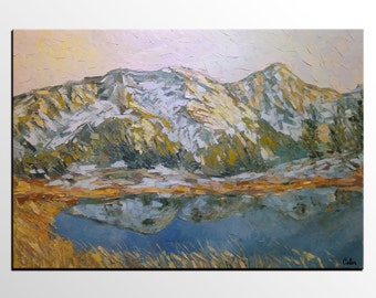 Oil Painting, Canvas Painting, Canvas Art, Extra Large Art, Modern Art, Original Art, Abstract Art, Living Room Wall Art, Mountain and Lake
