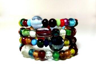 Colorful Artsy Bead Memory Wire Bracelet No 6 - Colorful Wrap Bracelet